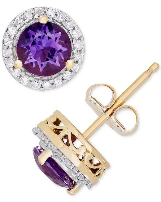 Macy's - Metallic Amethyst (9/10 Ct. T.w.) & Diamond (1/8 Ct. T.w.) Halo Stud Earrings In 14k Gold - Lyst