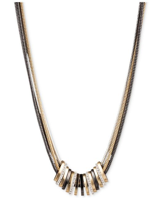Nine West - Metallic Tri-tone Crystal Large Slider Necklace - Lyst