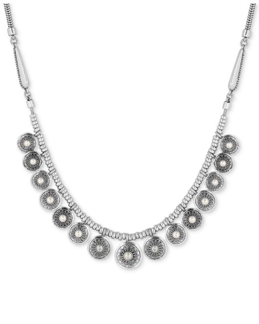 Lucky Brand - Metallic Silver-tone Imitation Pearl Multi-disc Statement Necklace - Lyst