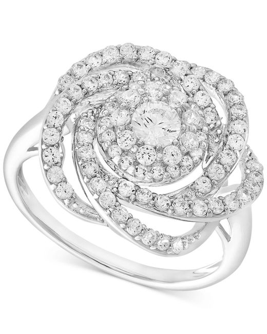 Wrapped in Love - Metallic Diamond Ring, 14k White Gold Diamond Pave Knot Ring (1 Ct. T.w.) - Lyst