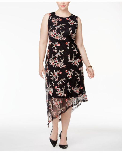 Alfani Plus Size Floral Embroidered Asymmetrical Dress In Black Lyst