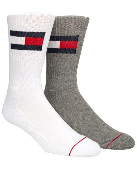 af2a31623 Lyst - Tommy Hilfiger 2-pk. Logo Crew Socks in Gray for Men