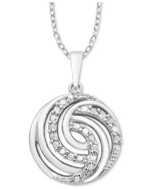 """Macy's - Metallic Diamond Swirl 18"""" Pendant Necklace (1/10 Ct. T.w.) In Sterling Silver - Lyst"""