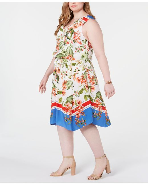 eee7107b1e8 ... Tommy Hilfiger - Multicolor Plus Size Printed Sleeveless Dress, Created  For Macy's ...