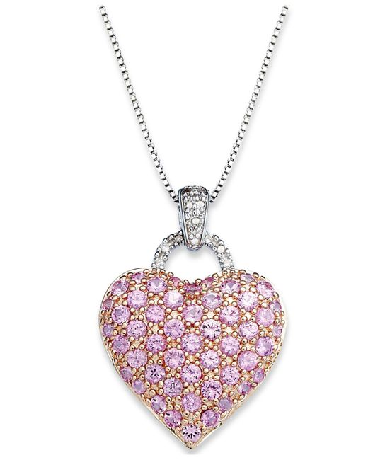 Macy's | Pink Sapphire (2-1/4 Ct. T.w.) And Diamond Accent Heart Pendant Necklace In Sterling Silver | Lyst