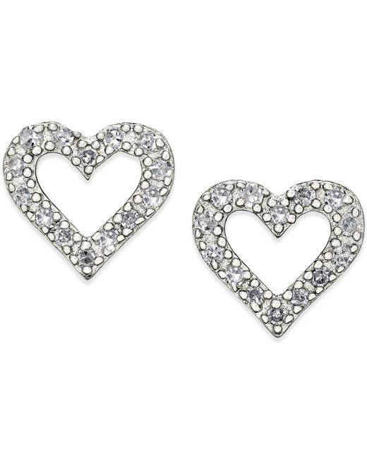 Macy's - Metallic Diamond Heart Stud Earrings In Sterling Silver (1/10 Ct. T.w.) - Lyst