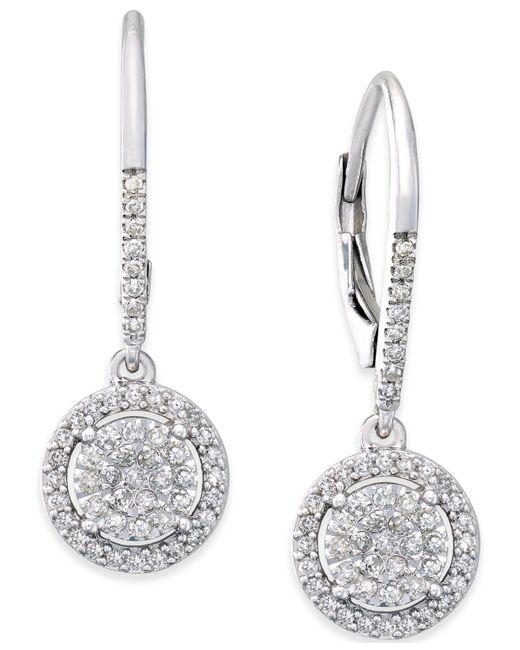 Macy's - Metallic Diamond Cluster Drop Earrings (1/3 Ct. T.w.) In Sterling Silver - Lyst
