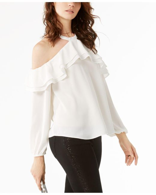 INC International Concepts | White Ruffled Cold-shoulder Top | Lyst