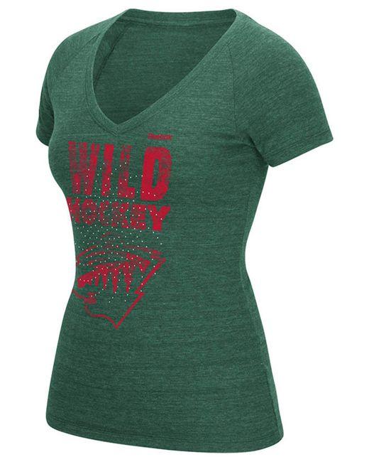 Reebok | Green Women's Minnesota Wild Block Rhinestone T-shirt | Lyst