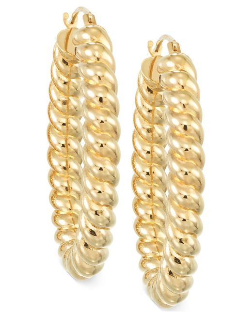 Signature Gold - Metallic Rope Hoop Earrings In 14k Gold Over Resin - Lyst