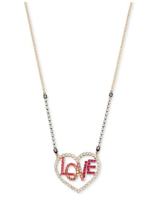 Betsey Johnson | Metallic Two-tone Clear & Colored Pavé Love Heart Pendant Necklace | Lyst