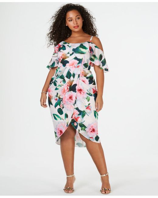 4c7066c2f4199 City Chic - Multicolor Trendy Plus Size Off-the-shoulder Faux-wrap Dress ...