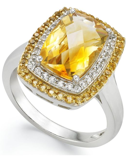 Macy's | Metallic Sterling Silver Ring, Citrine (3-1/3 Ct.t .w.) And White Topaz (1/5 Ct. T.w.) Rectangle Ring | Lyst