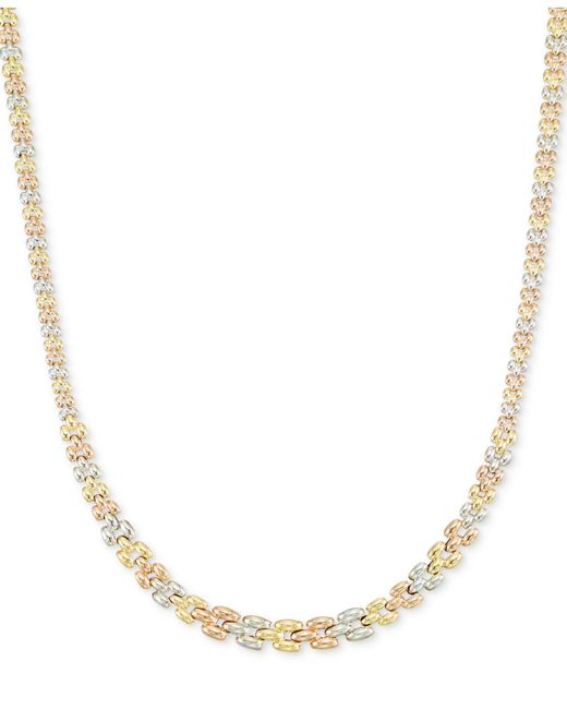 Macy's - Metallic Tri-tone Graduated Link Necklace In 14k Tri-color Gold - Lyst