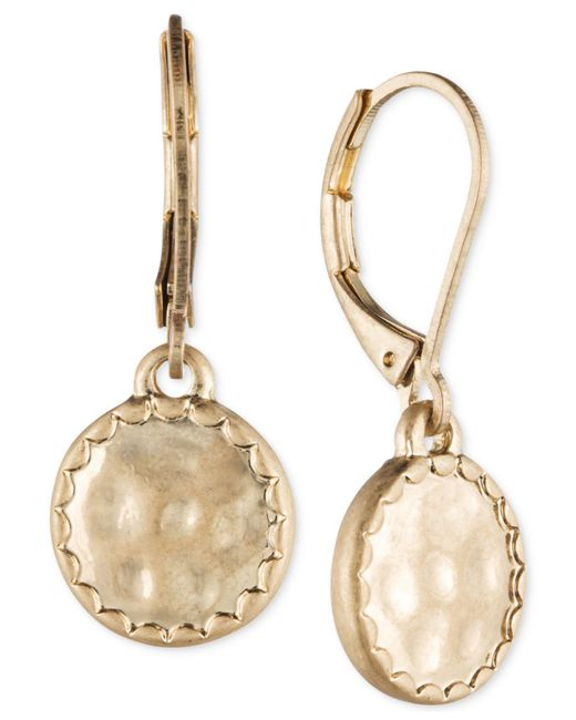 Lonna & Lilly - Metallic Gold-tone Hammered Disc Drop Earrings - Lyst