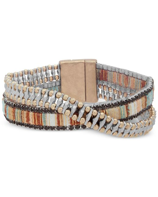 Lonna & Lilly - Natural Two-tone & Fabric Crystal Double-row Wrap Bracelet - Lyst