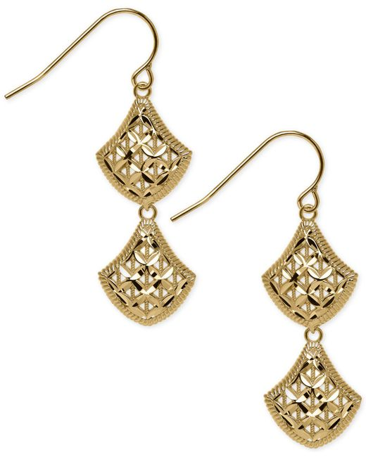 Macy's - Metallic Openwork Mesh Double Drop Earrings In 14k Gold - Lyst