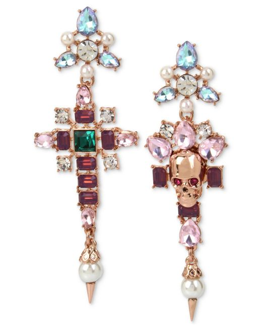 Betsey Johnson | Pink Rose Gold-tone Multi-stone & Imitation Pearl Skull Mismatch Drop Earrings | Lyst