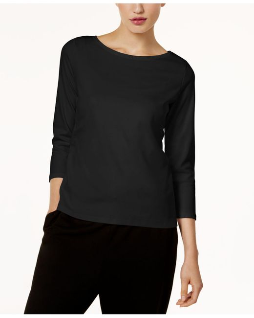 Eileen Fisher - Black Three-quarter-sleeve Ballet-neck Top - Lyst