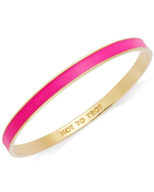 "Kate Spade | Metallic Bracelet, Gold-tone Fluorescent Pink ""hot To Trot"" Idiom Bangle Bracelet 