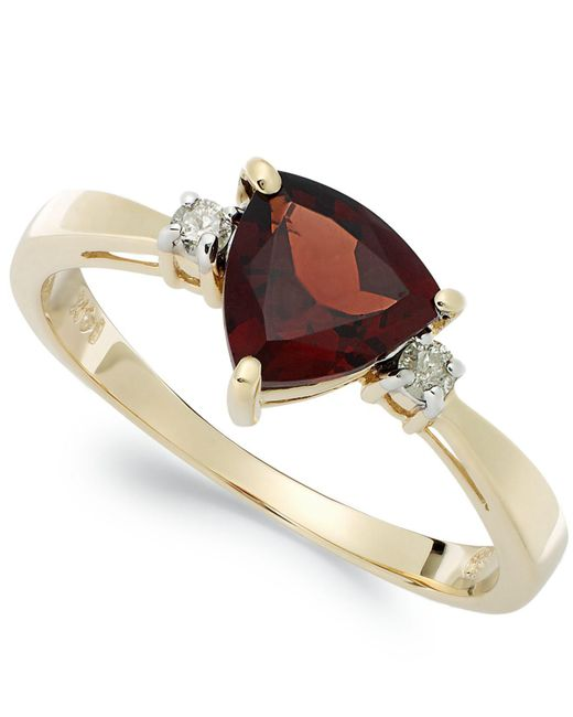 Macy's | Metallic 14k Gold Garnet (1-1/3 Ct. T.w.) And Diamond Accent Ring | Lyst