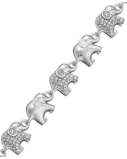 Macy's   Metallic Sterling Silver-plated Diamond Accent Linked Elephant Charm Bracelet   Lyst