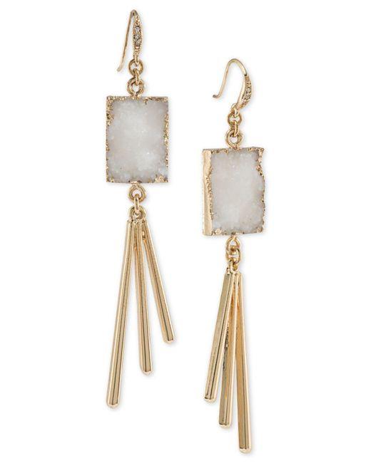 ABS By Allen Schwartz   Metallic Gold-tone White Resin Drop Earrings   Lyst