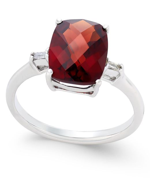 Macy's | Metallic Rhodolite Garnet (3-1/2 Ct. T.w.) And Diamond Accent Ring In Sterling Silver | Lyst