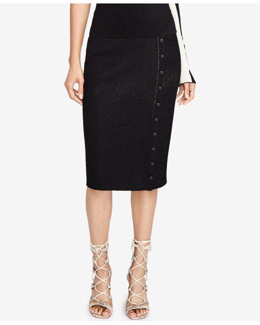RACHEL Rachel Roy | Black Button-front Pencil Skirt | Lyst