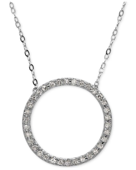 Macy's - Metallic Diamond Circle Pendant Necklace (1/10 Ct. T.w.) In 14k White Gold - Lyst