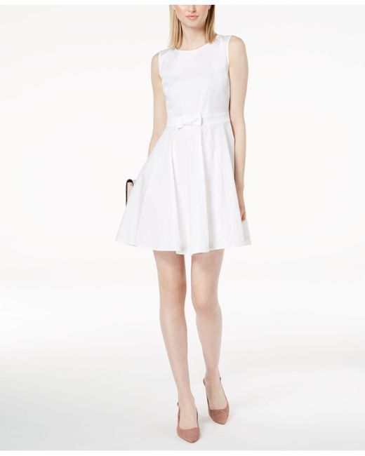 Maison Jules - White Bow-detail Fit & Flare Dress, Created For Macy's - Lyst