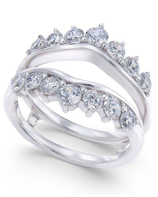 Macy's - Metallic Diamond Tiara Solitaire Enhancer Ring Guard (1-3/8 Ct. T.w.) In 14k White Gold - Lyst
