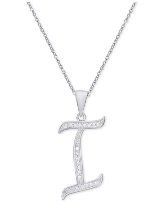 Macy's | Metallic Diamond Accent Script Initial Pendant Necklace In Sterling Silver | Lyst