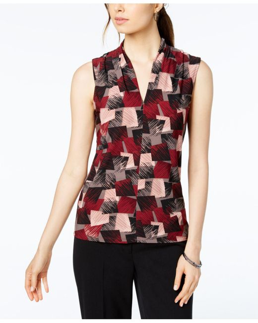 Nine West - Red Printed Inverted Pleat-neck Shell - Lyst