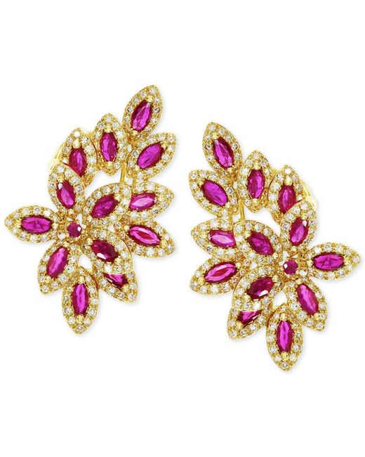 Effy Collection - Multicolor Effy Ruby (2-1/2 Ct. T.w.) And Diamond (1 Ct. T.w.) Earrings In 14k Gold - Lyst
