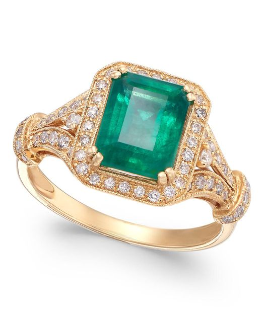 Effy Collection - Green Emerald (2-1/5 Ct. T.w.) And Diamond (1/3 Ct. T.w.) Ring In 14k Gold - Lyst