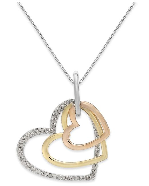 Macy's | Metallic Diamond Tri-tone Triple Heart Pendant Necklace In Sterling Silver And 14k Gold (1/5 Ct. T.w.) | Lyst