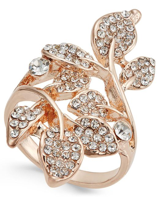 INC International Concepts | Metallic Rose Gold-tone Pavé Multi-leaf Ring | Lyst