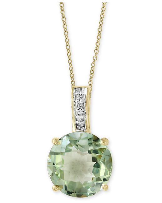Effy Collection | Green Amethyst (3-9/10 Ct. T.w.) & Diamond Accent Pendant Necklace In 14k Gold | Lyst