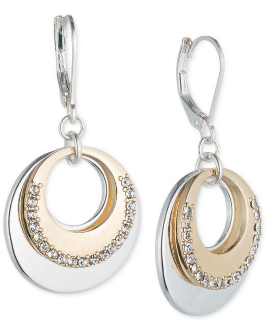 Nine West | Metallic Two-tone Pavé Circle Layered Drop Earrings | Lyst