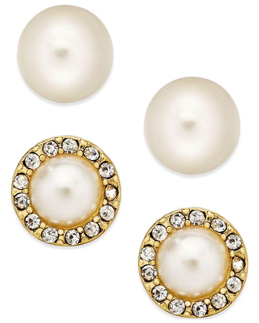 Charter Club - Metallic Gold-tone Kiska Imitation Pearl Stud Earring Duo - Lyst
