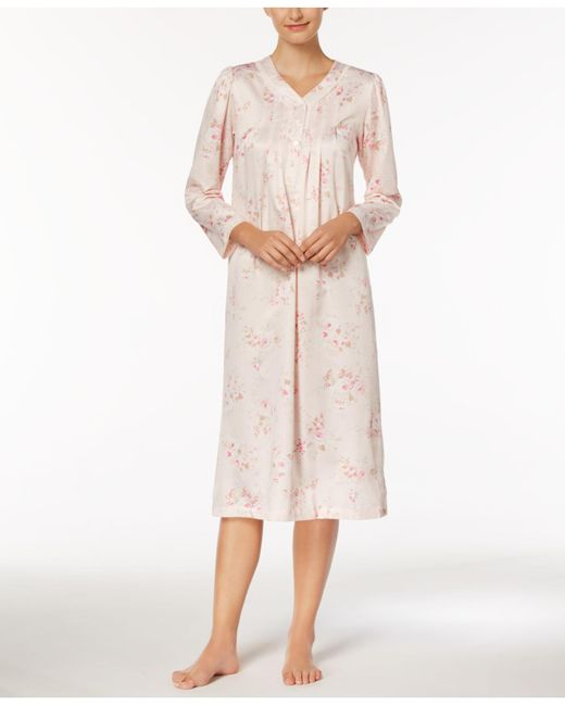 Miss Elaine | Pink Petite Rose-print Picot-trimmed Nightgown | Lyst