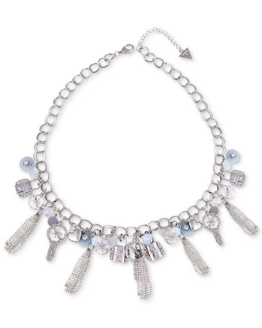 """Guess - Metallic Silver-tone Crystal, Bead & Chain Tassel Logo Charm Statement Necklace, 18"""" + 2"""" Extender - Lyst"""