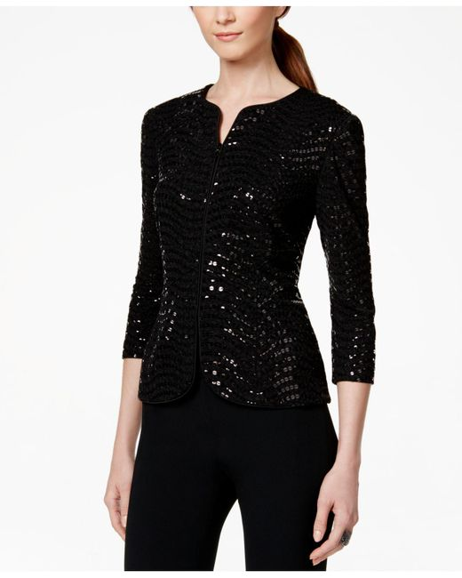 Alex Evenings - Black Sequined Jacket & Top Set - Lyst