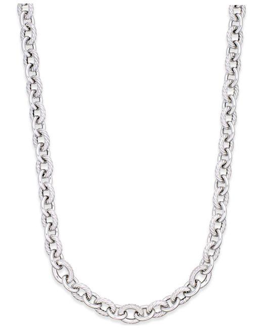 Macy's - Metallic Diamond Oval Link Necklace (5/8 Ct. T.w.) In Sterling Silver - Lyst