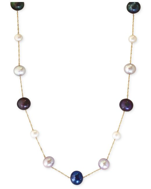 Effy Collection - Multicolor Multi-color Cultured Freshwater Pearl Station Necklace In 14k Gold (6mm) - Lyst