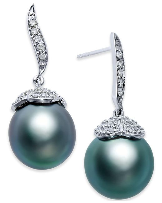 Macy's - Black Tahitian Pearl (11mm) And Diamond (3/8 Ct. T.w.) Stud Earrings In 14k White Gold - Lyst