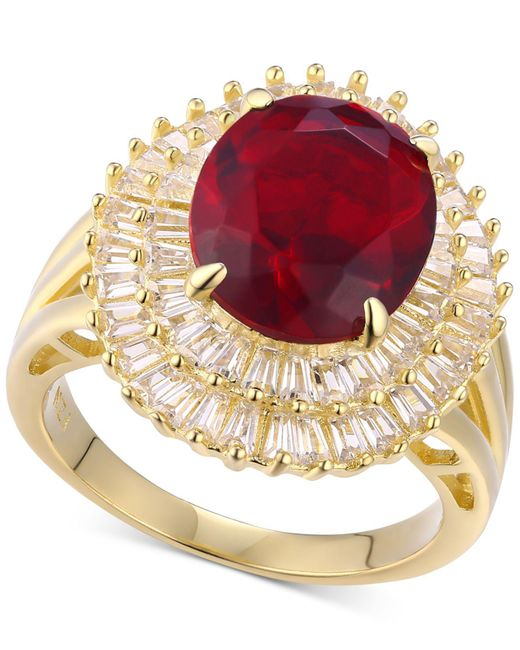 Macy's - Metallic Cubic Zirconia Simulated Garnet Baguette Statement Ring 14k Gold-plated In Sterling Silver - Lyst