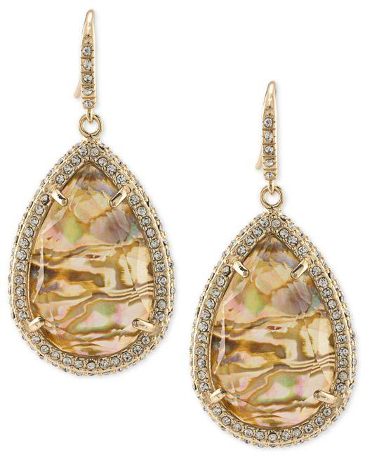 ABS By Allen Schwartz   Metallic Gold-tone Pavé & Abalone Stone Drop Earrings   Lyst