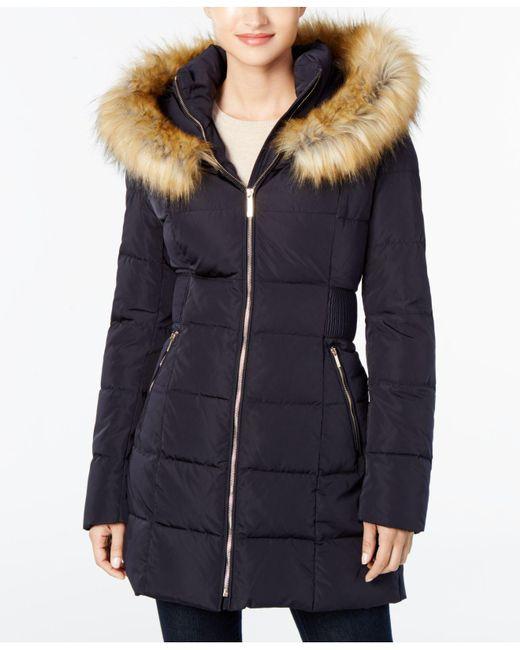 Ivanka Trump | Blue Faux-fur Cinched-waist Puffer Coat | Lyst